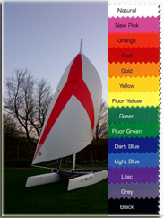 14 different spinnaker colors